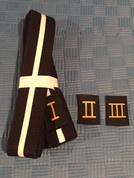 5cm wide junior black belt with 1st, 2nd and 3rd degree grade patches