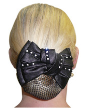 Show Bow Hairnet With Diamantes On Velvet