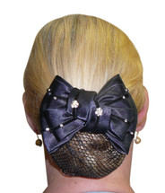Show Bow Hairnet With Diamante Flowers
