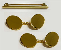 Gold Oval Cufflinks And Stock Pin Set