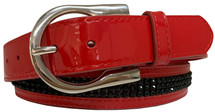 Giddyup Ladies Patent Diamante Belt