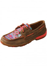 Twisted X Womens Coral Aztec Low Lace Up Moc
