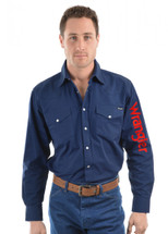 Wrangler Mens Logo Rodeo Long Sleeve Drill Shirt