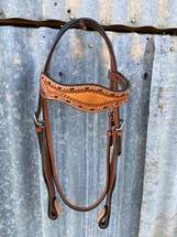 Calgary Two Tone Bridle With Silver Stud- G-888