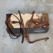 Calgary AK-861 Set With Cowhide Pad, Buck Stitch Spurs & Straps