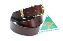 "Australian Made ""Overlander"" Leather Dress Belt With Solid Brass Fittings"