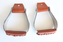 """Newmarket's Aluminum 2"""" Oxbow Stirrups With Padded Leather Tread"""