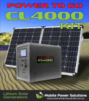 CL4000 Lithium Solar Generator equipped with 1500 watt Pure Sine wave inverter and 160 watt Folding solar panel kit