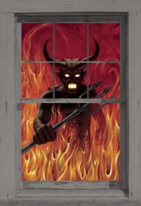 Devil's Hell Poster shown in a window
