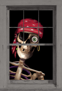 Peppy the Pirate shown in a window
