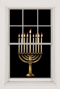 Menorah Decorative Window Poster for hanukkah shown in a window