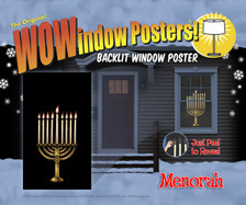 Menorah Decorative Window Poster for hanukkah as seen in a house