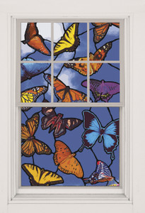 Butterflies Stained Glass Decorative Window Poster shown in a window