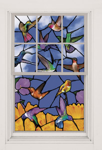 Hummingbirds Stained Glass Decorative Window Poster shown in a window
