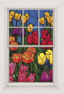 Spring Flowers Stained Glass Decorative Window Poster shown in a window