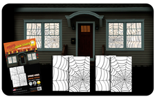 2 two packs of double window spider web halloween posters shown in four windows