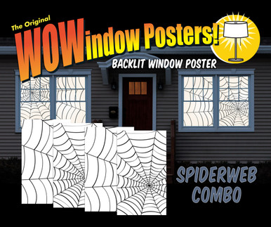 A house showing 4 windows with spiderweb Halloween Window Posters.