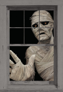 Mummy Poster shown in a window
