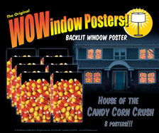 House showing 8 Candy Corn posters shown in 8 windows