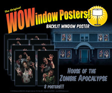 House of Zombie Apocalypse 8 posters shown in 8 windows