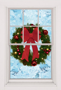 Christmas Wreath Poster shown in a window