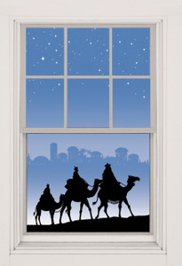 Christmas Wreath Poster shown in two windows