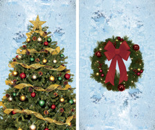 Christmas Tree and Wreath Posters shown in two windows