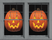 2 Happy Jack O Lantern WOWindow Poster decorations show in a frame