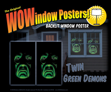 Twin Green Demon WOWindow Halloween Poster Decorations shown in a house in two windows
