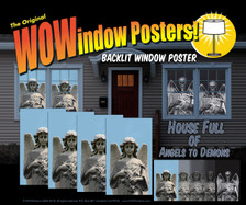 4 Angel Posters showing the transition from Day Angel to Night Demon as seen in a house