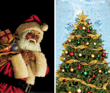 Santa Clause and Christmas Tree WOWindow Posters Christmas Decorations