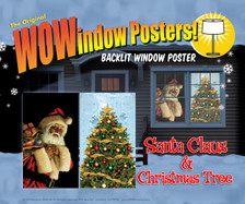 Santa Clause and Christmas Tree WOWindow Posters Christmas Decorations as seen two window frames in a house at night