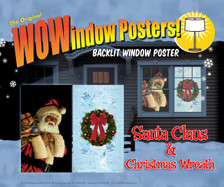 Santa Clause and Christmas Wreath WOWindow Posters Christmas Decorations as seen two window frames in a house at night