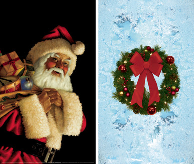 Santa Clause and Christmas Wreath  WOWindow Posters Christmas Decorations