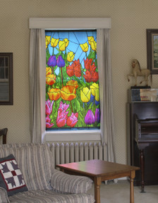 Spring Flowers Stained Glass Decorative Window Poster as seen from inside spreading beautiful color indoors and providing privacy