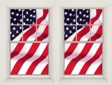 2 Old Glory USA American Flag Decorative Window Posters shown in 2 windows