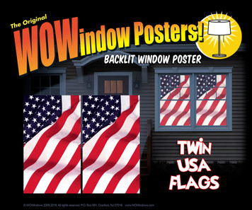 2 Old Glory USA American Flag Decorative Window Poster as seen in a house at night illuminated with interior lights.