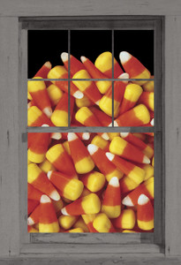 Candy Corn Poster shown in a window