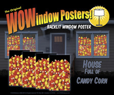 House showing 4 Candy Corn posters shown in four windows