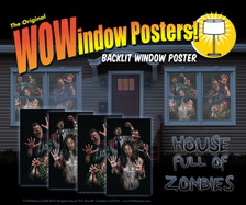 House full of zombies 4 posters shown in four windows