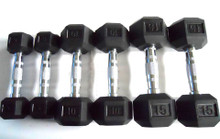 75LB Rubber-Hex Dumbbell