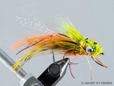 Mini Gurgle Bug - Chartreuse / Orange