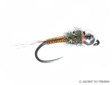Tungsten Jig V-Rib Mayfly Nymph - Brown/Green