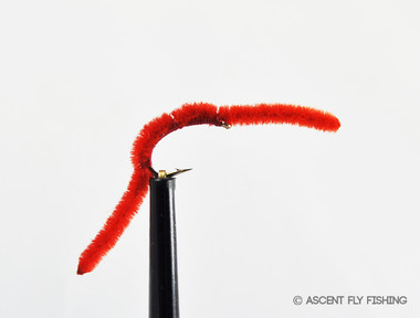 Trout Fishing: Pink and Red Hook Size 10 Flexi-Worm Wet Fly Bloodworm