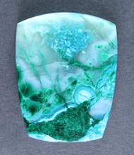 Bright Blue Chrysocolla and Malachite in Agate Cabochon  #14526