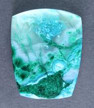 Bright Blue Chrysocolla and Malachite in Agate Cabochon  #14526