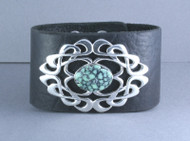 Spiderweb Turquoise and Sterling Silver Leather Cuff