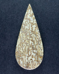 Dramatic Top Shelf Agatized Dino Bone Cabochon- Yellow and Tan  #14638