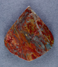 Dramatic Morrisonite Jasper Cabochon- Red, Blue + Yellow   #14866