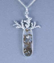 Plume Agate Sterling Silver Pendant